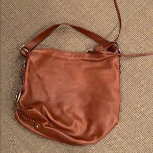 Brown leather hobo slouchy shoulder bag